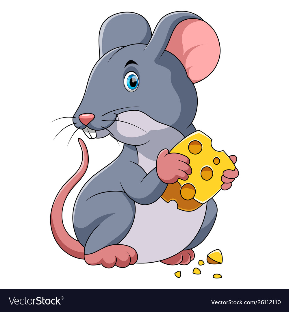 Happy mouse cartoon with cheese Royalty Free Vector Image