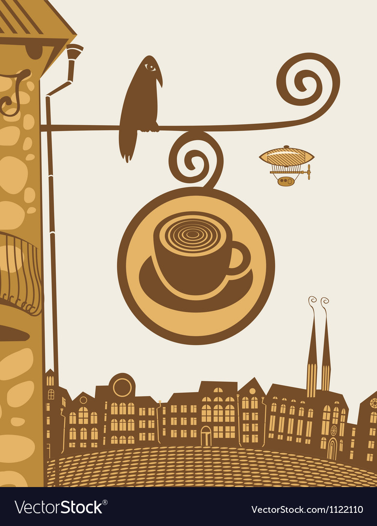 Raven cafe vector image