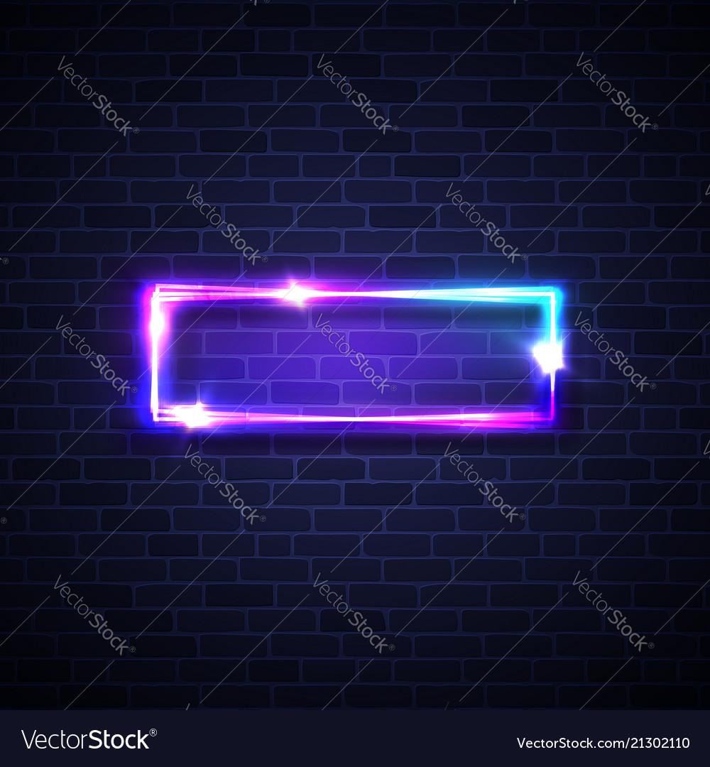 Realistic Led Neon Lights Frame Rectangle Signage