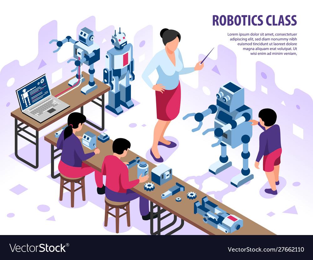 Robotics classroom isometric background