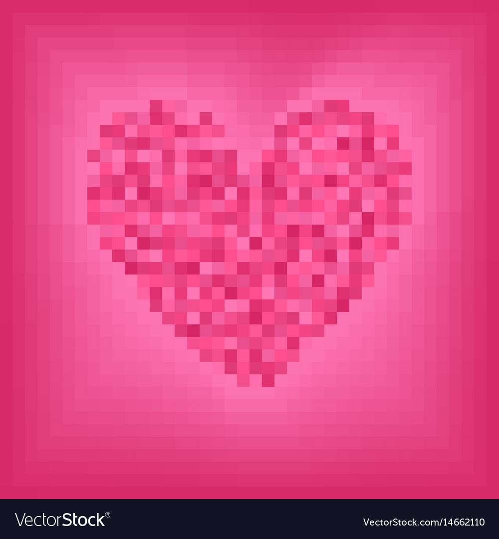 Rose pixel heart on pink background