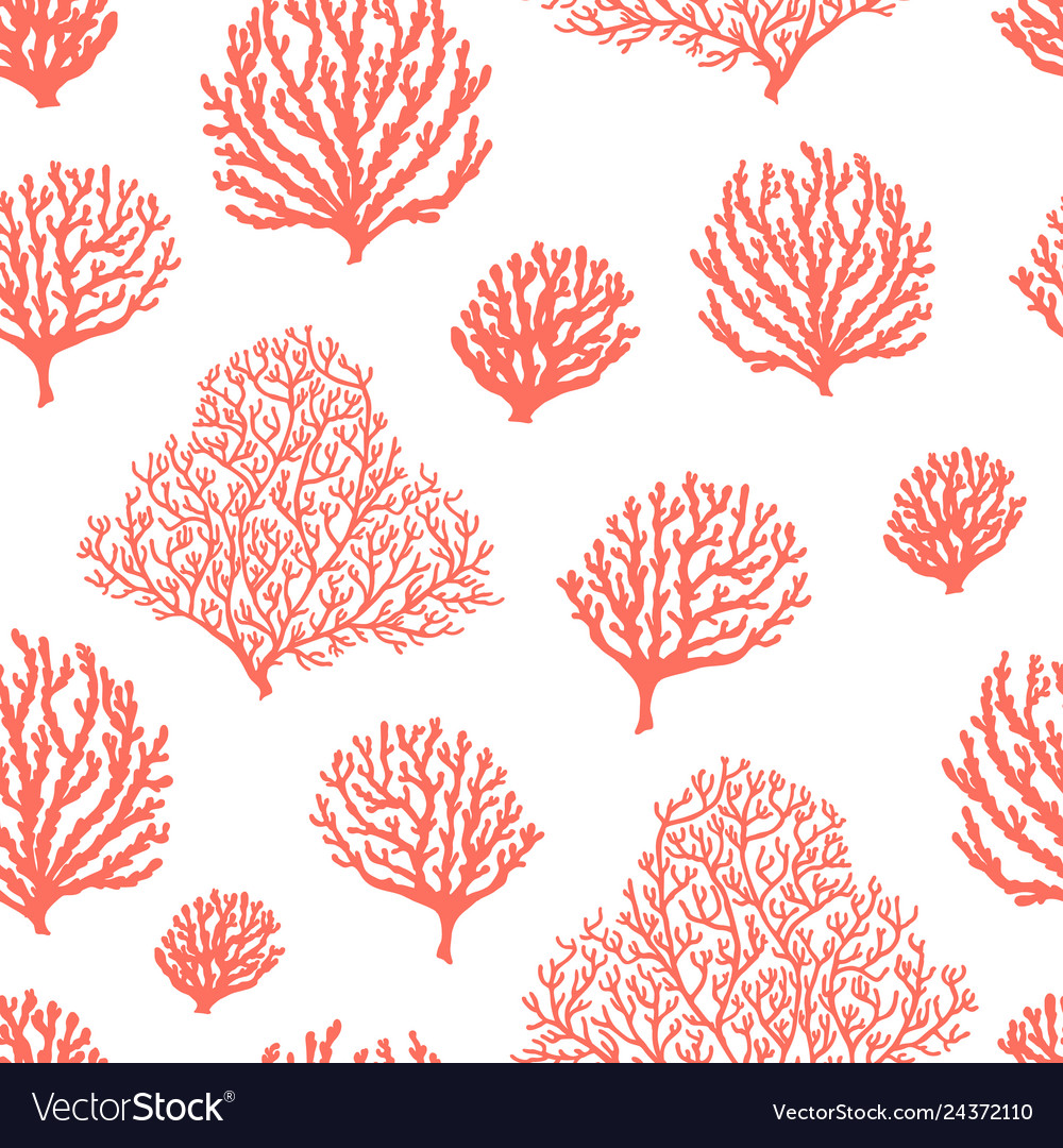 Sea reef corals seamless pattern marine abstract