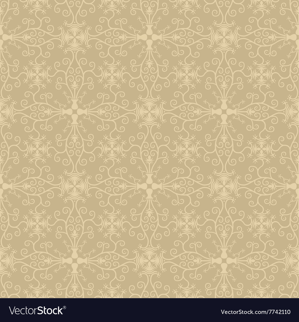 Seamless Symmetric Vintage Floral Wallpaper Vector Image