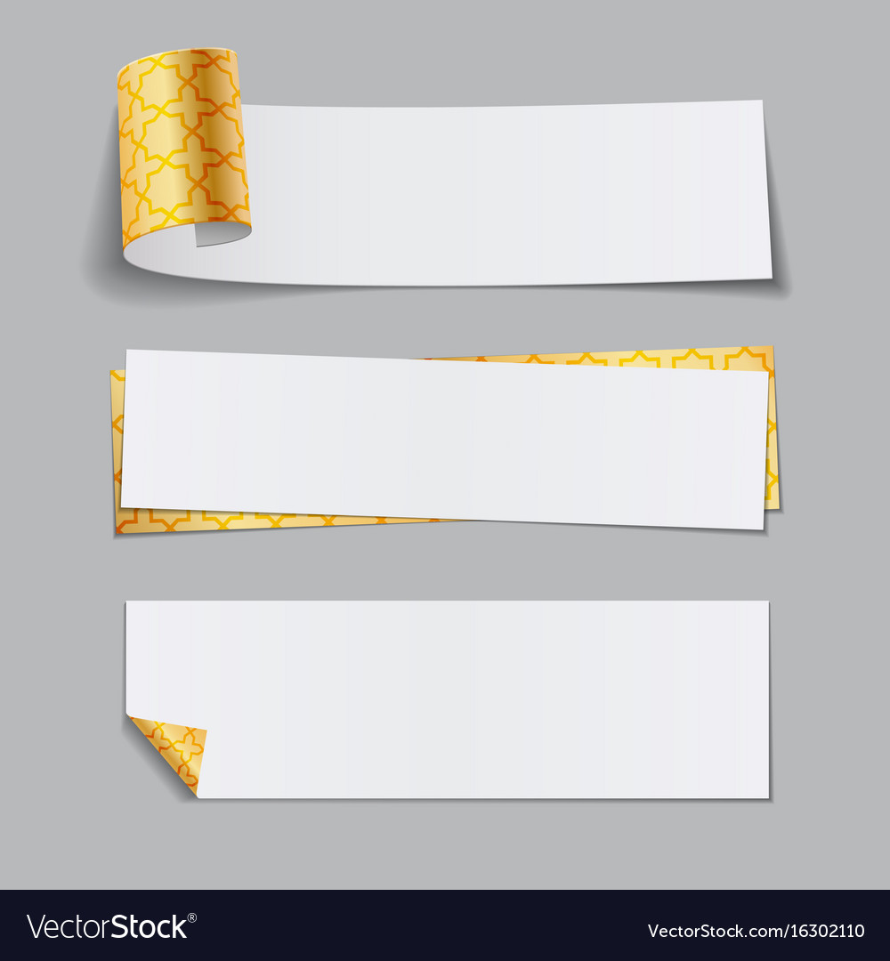 Set of golden paper banners with arabic pattern