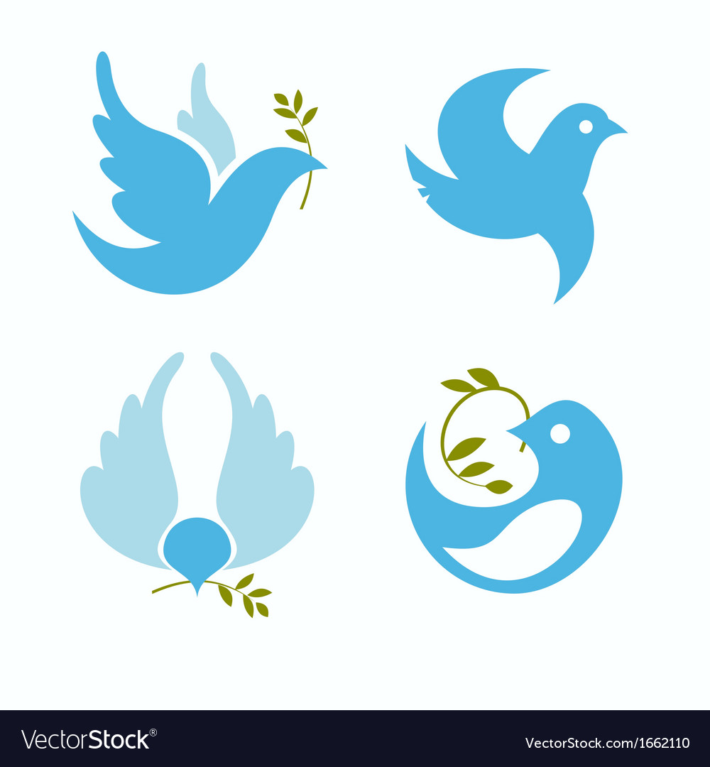 Set Of Symbols Dove Of Peace Royalty Free Vector Image
