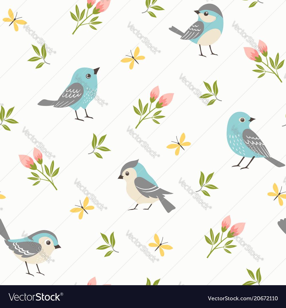 Spring little birds pattern
