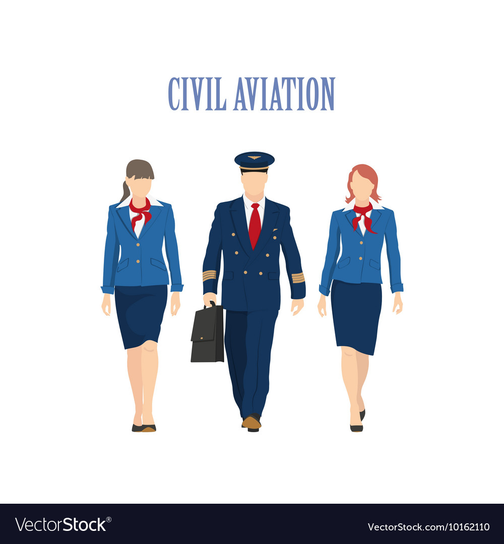 6a3ca5c475517 The pilot and a flight attendant Royalty Free Vector Image