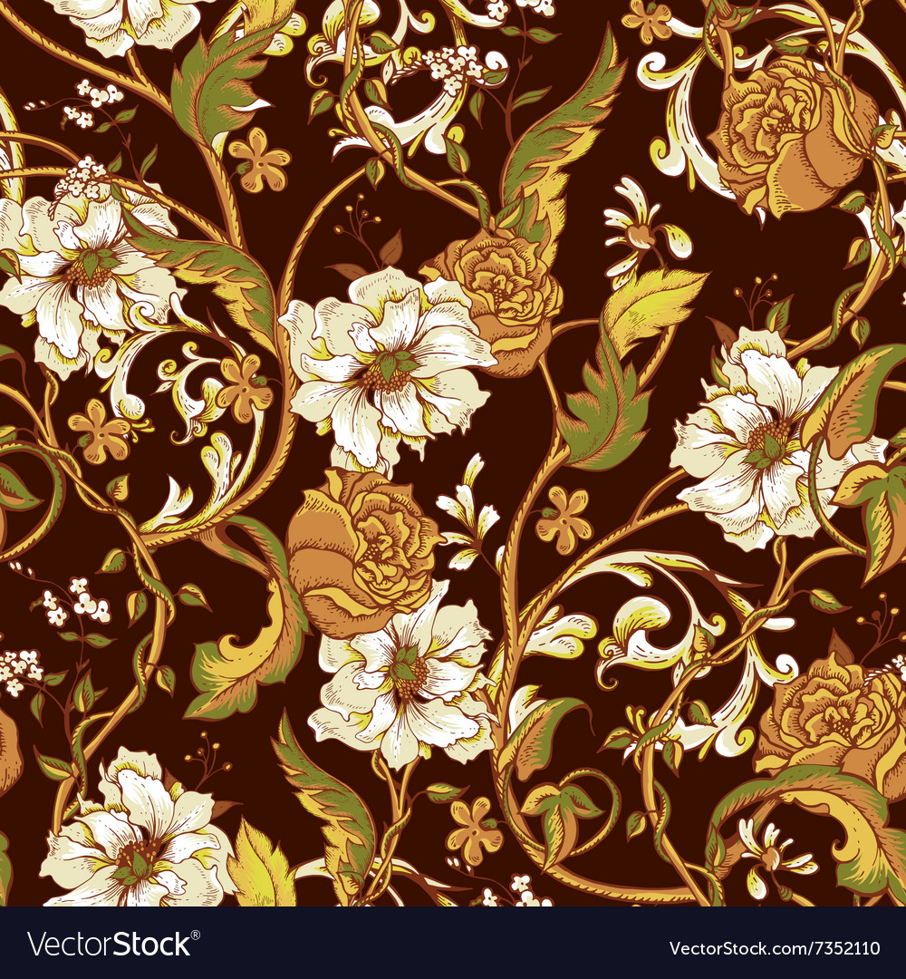Vintage seamless pattern with blooming magnolias