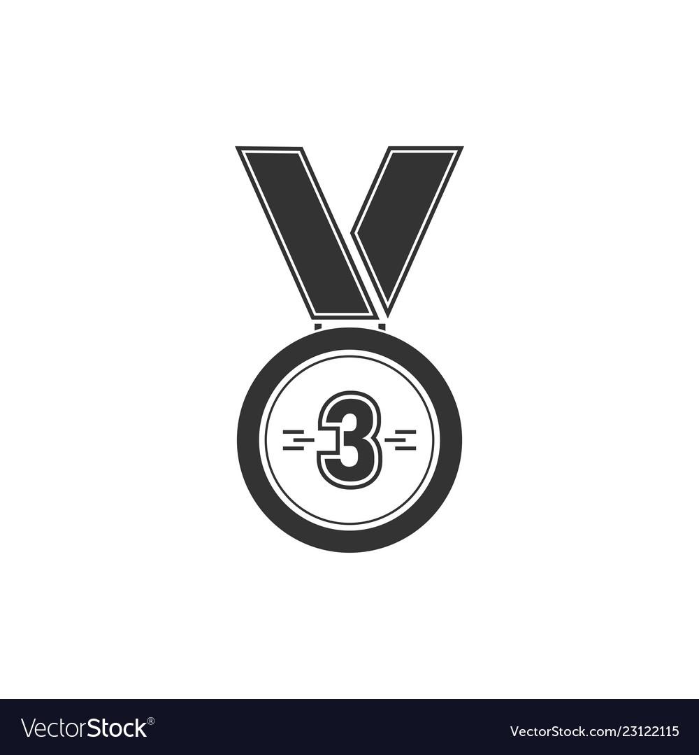 3 winner bronze medal award icon flat