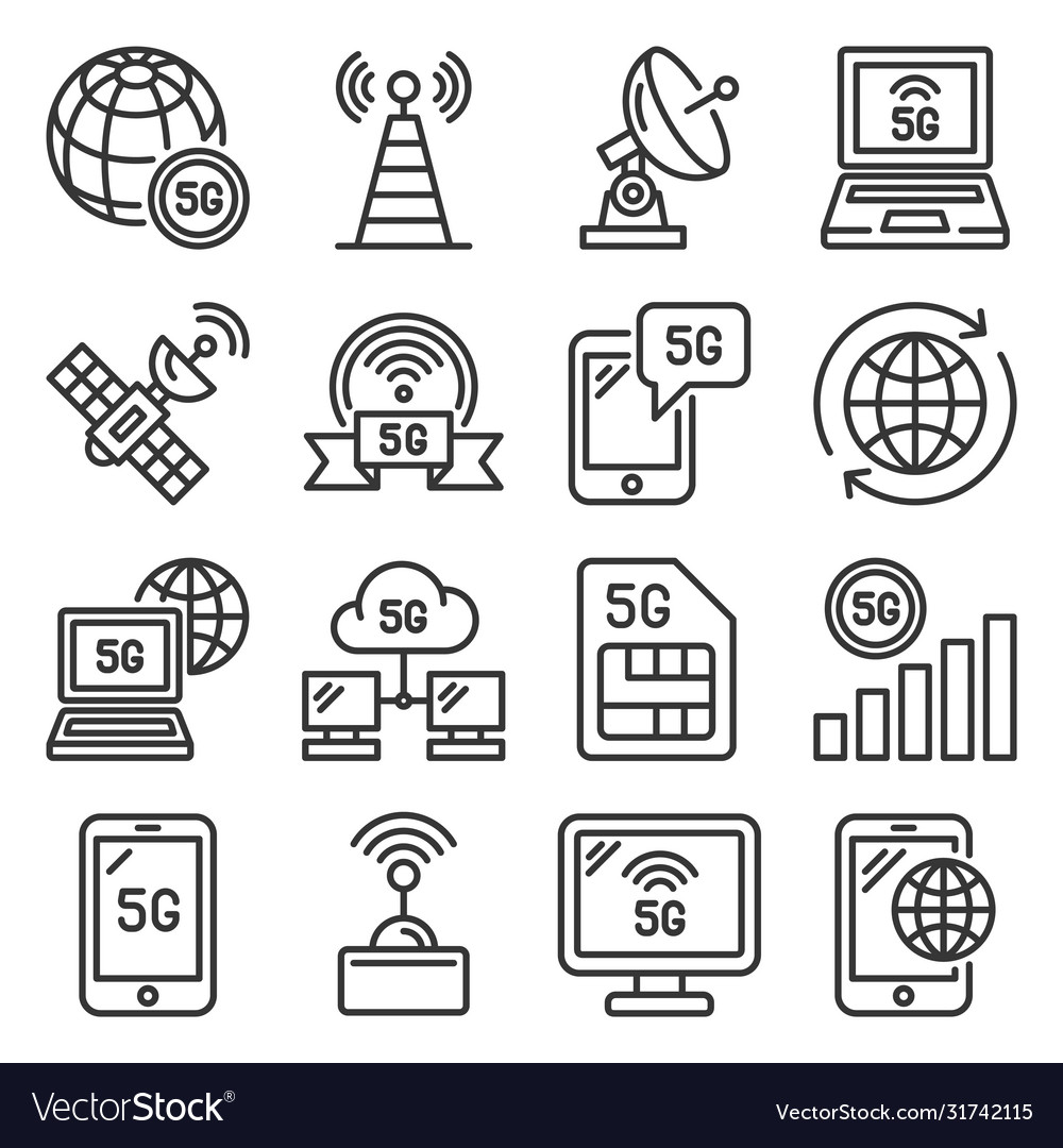 5g generation mobile communication icons set line