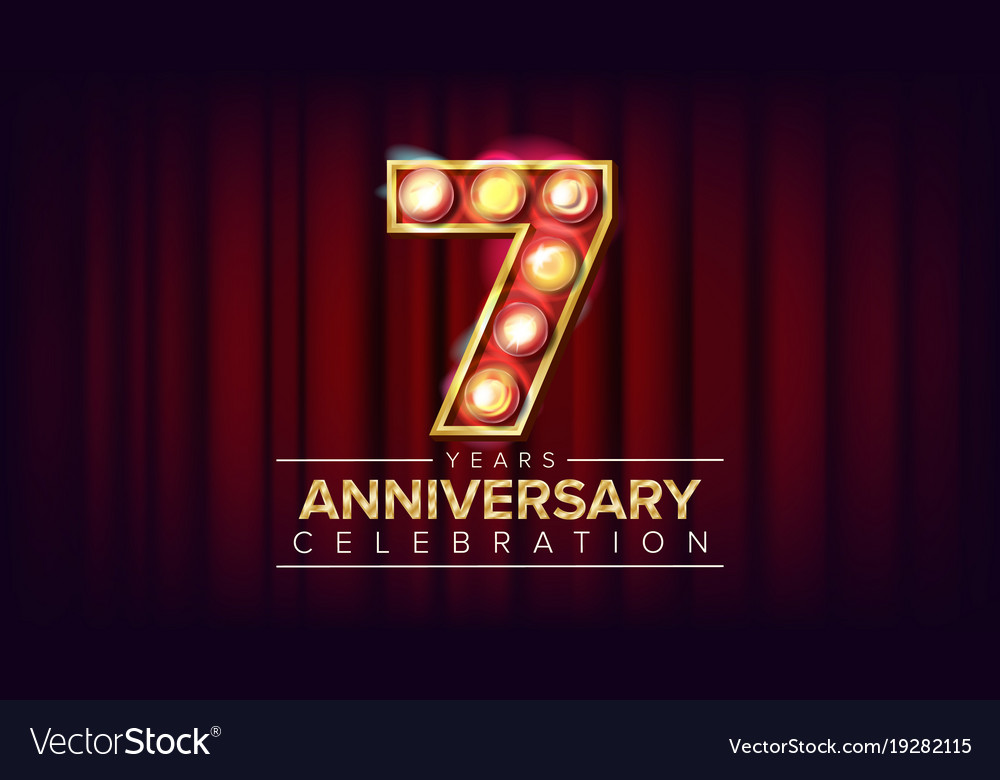 7 Years Anniversary Banner Seven Seventh Vector Image