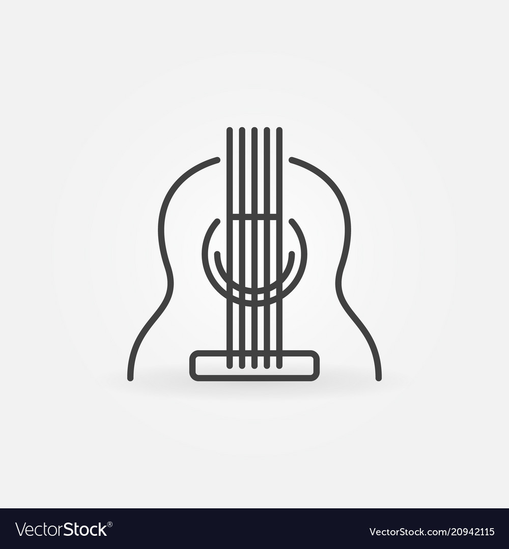 Acoustic guitar icon in thin line style