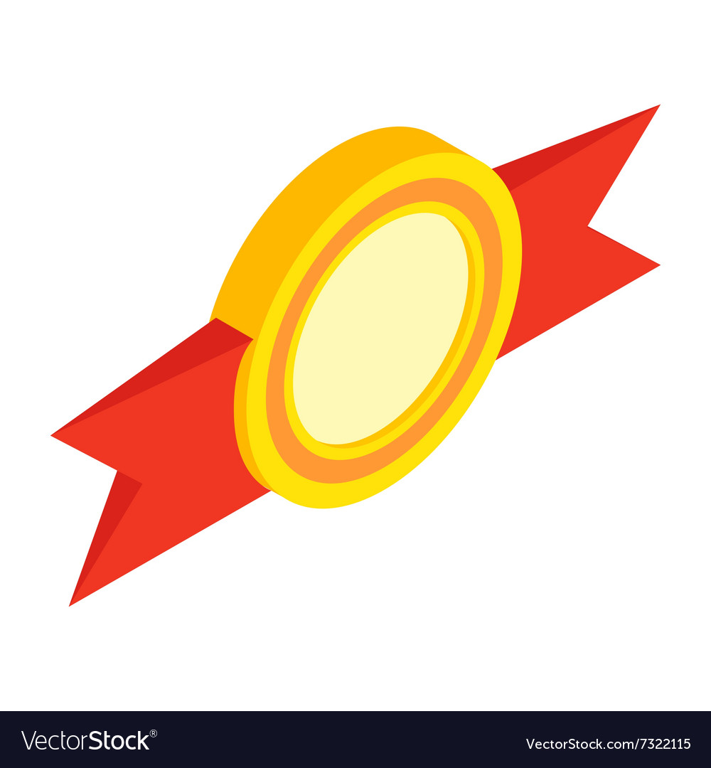 Award ribbon isometric 3d icon vector image