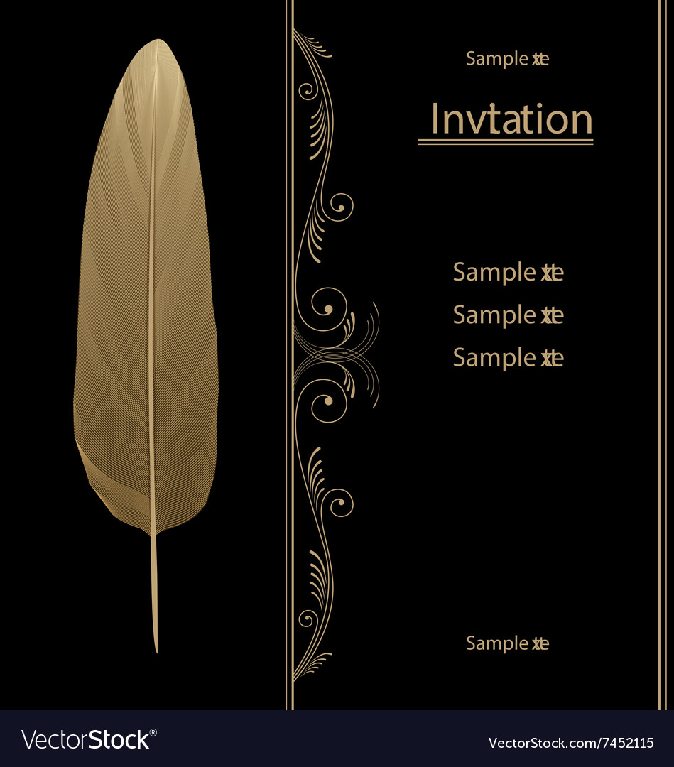 Black and gold vintage invitation card graphic