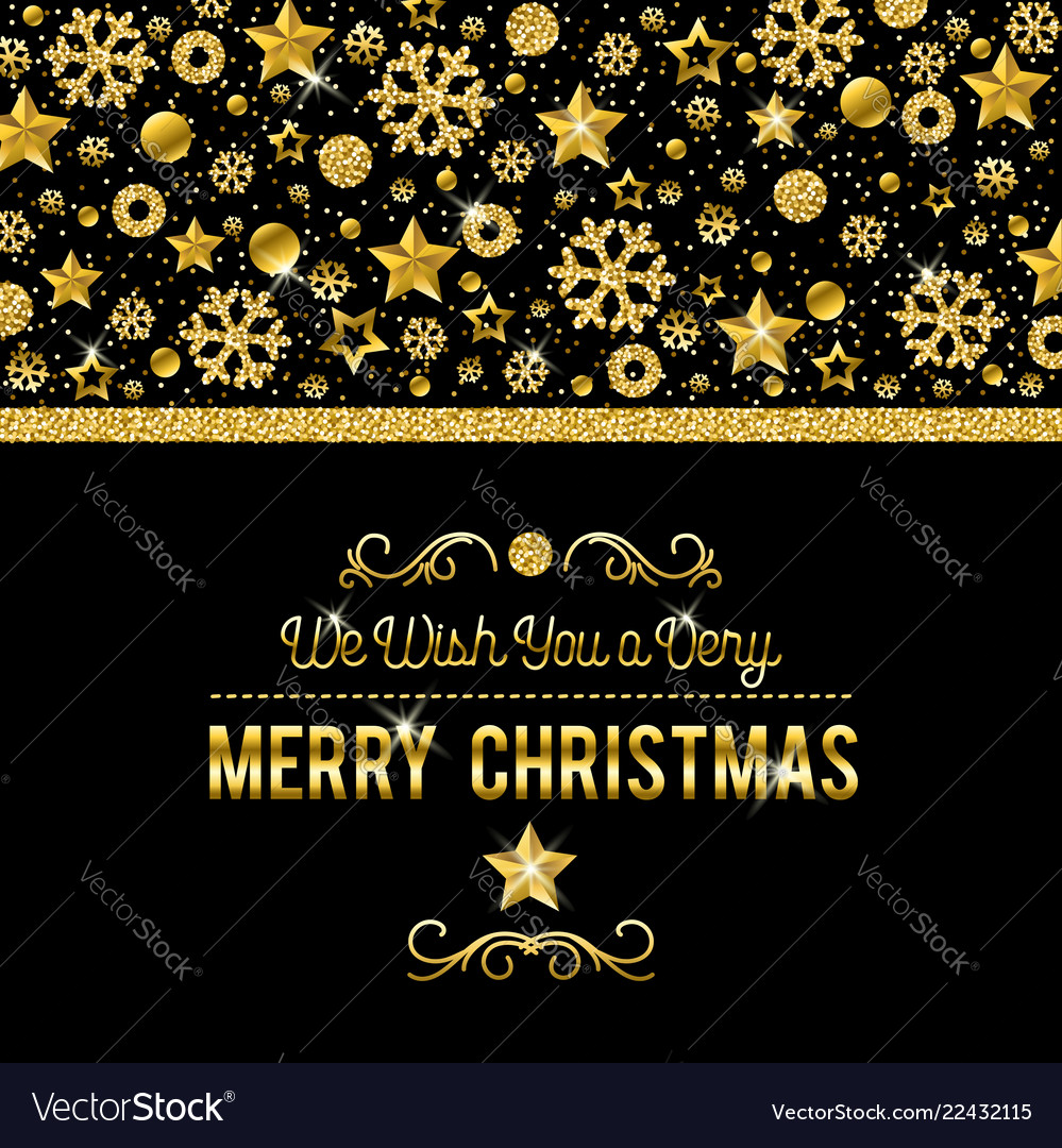 Black christmas card with golden glittering Vector Image