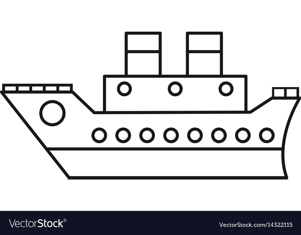 Boat cruise travel sea thin line