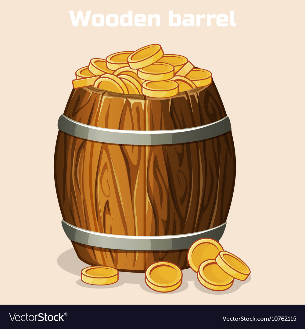 Cartoon wooden barrel full of gold coins the game