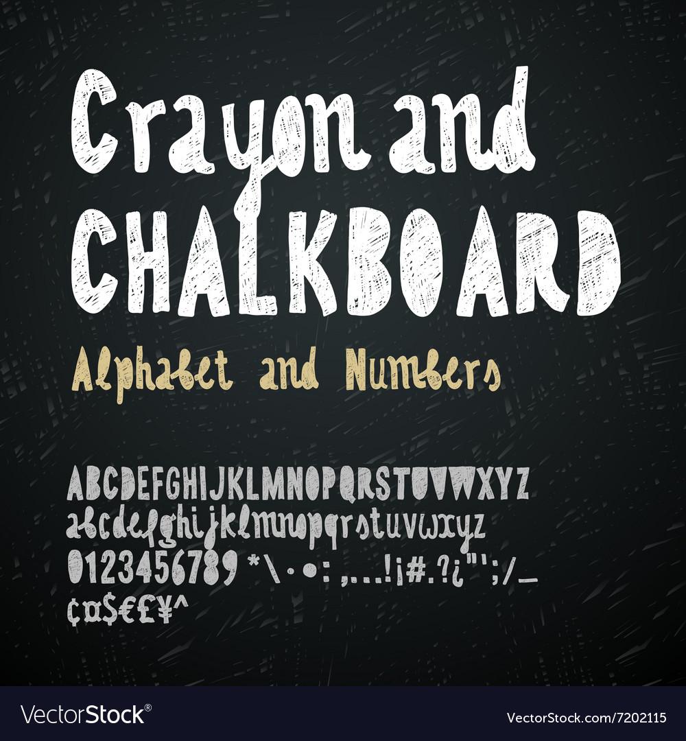 Chalkboard and crayon alphabet