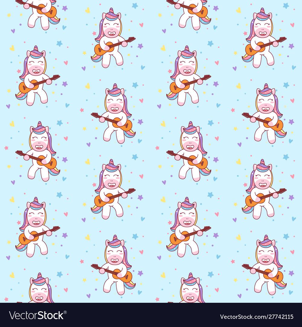 Cute unicorn playing guitar seamless pattern