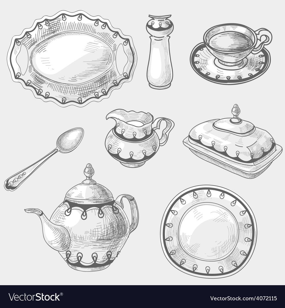 Hand drawn doodle sketch kitchen porcelain