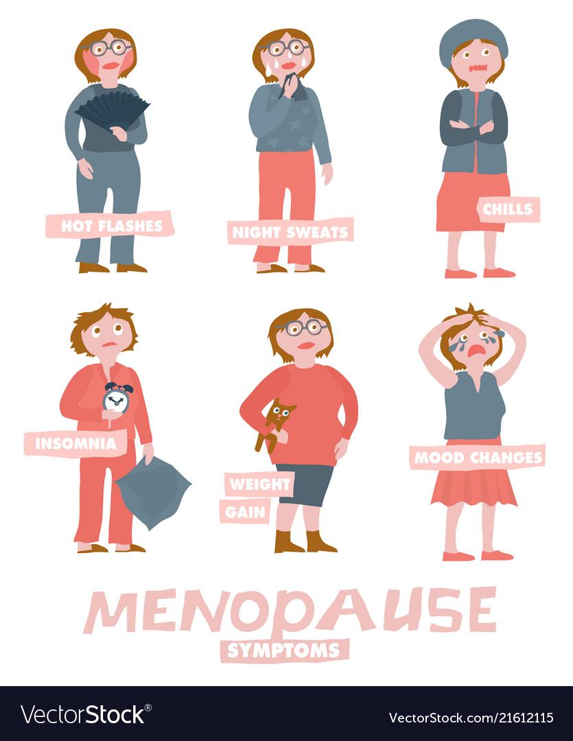 Menopause Symptoms Set Royalty Free Vector Image