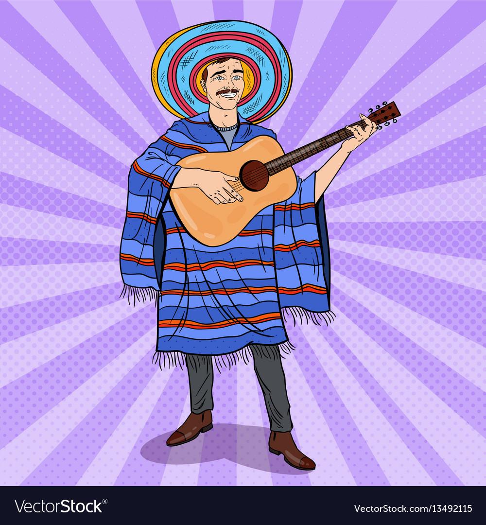 Pop art mariachi playing guitar mexican man