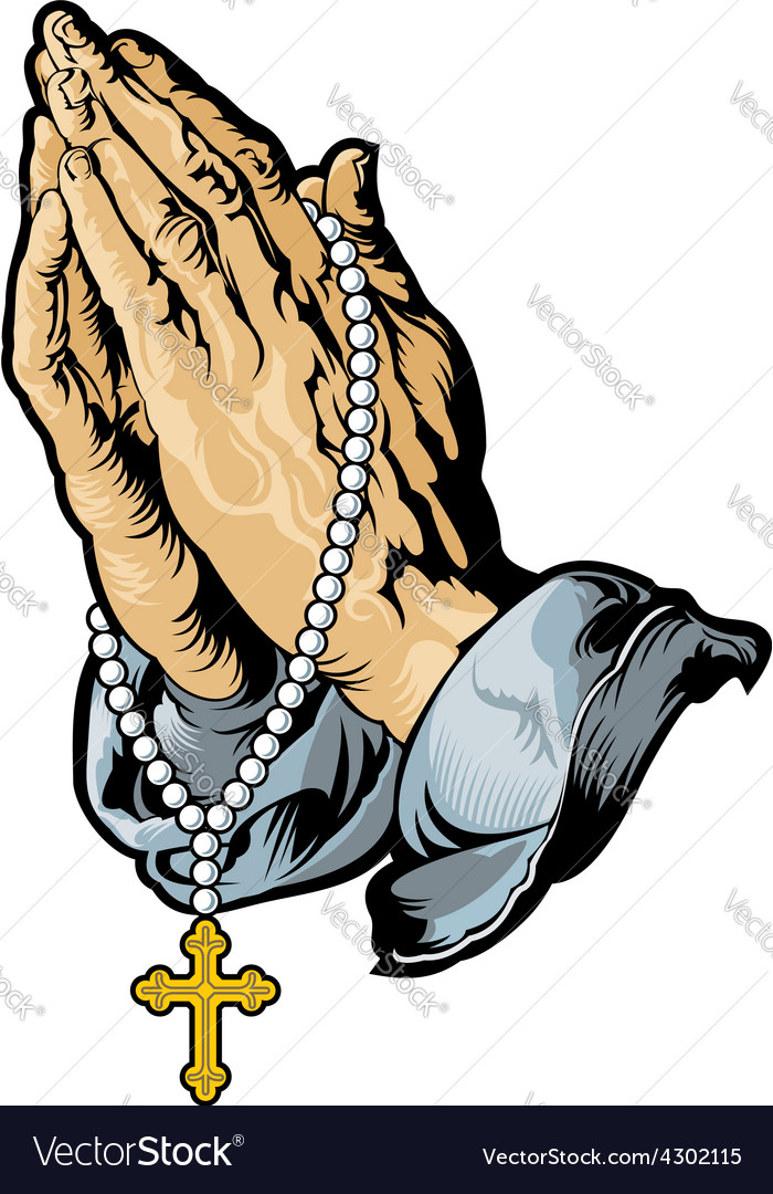 praying hands with rosary tattoo royalty free vector image