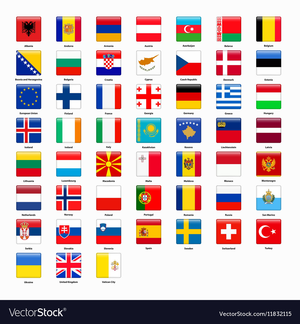 set of flags of all countries of europe royalty free vector