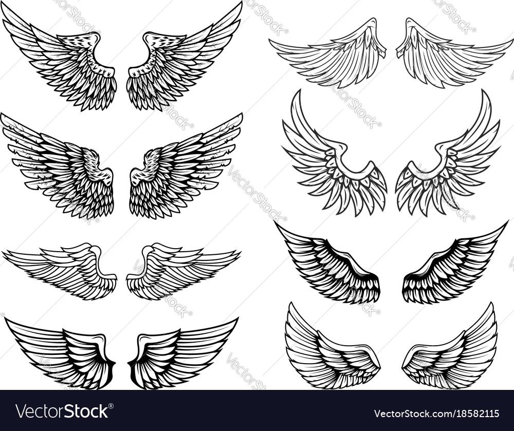 Set of vintage wings design elements for logo