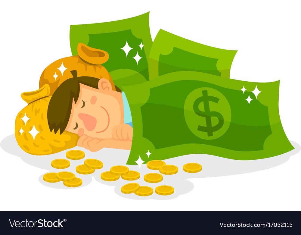 sleeping in money royalty free vector image vectorstock