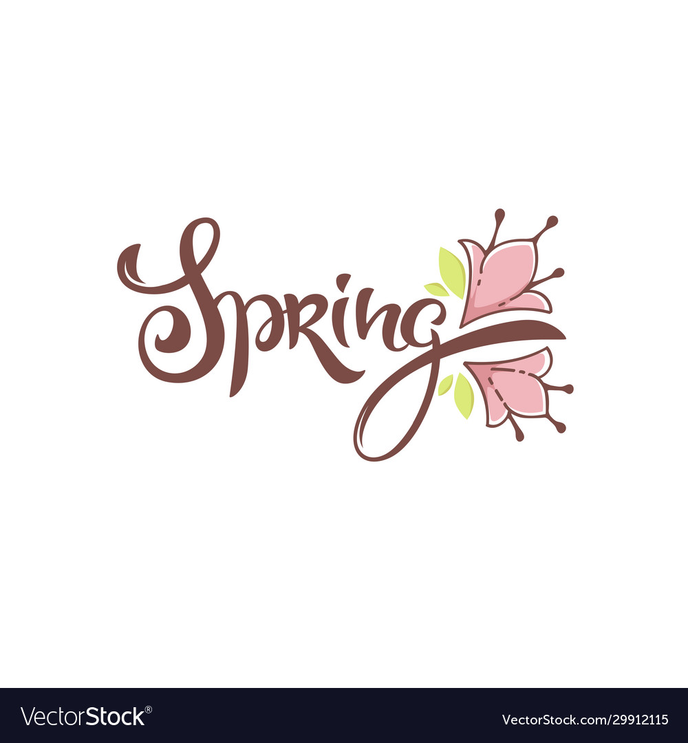 Spring lettering composition with doodle flowers