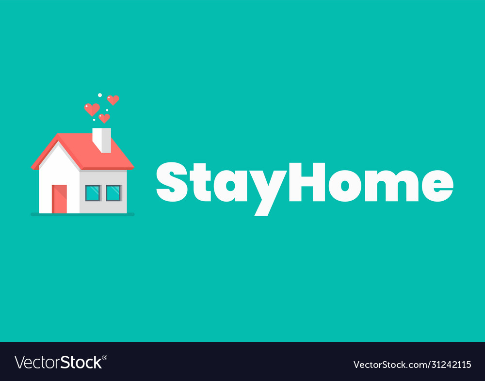 Stay at home slogan with house icon