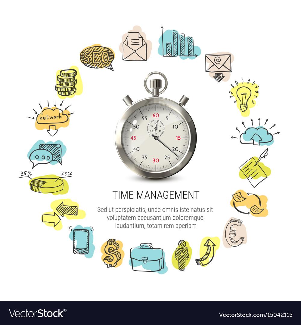 Time management round design vector image