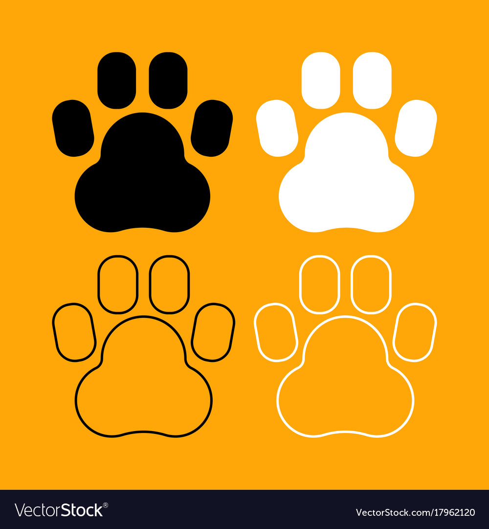Animal footprint set black and white icon