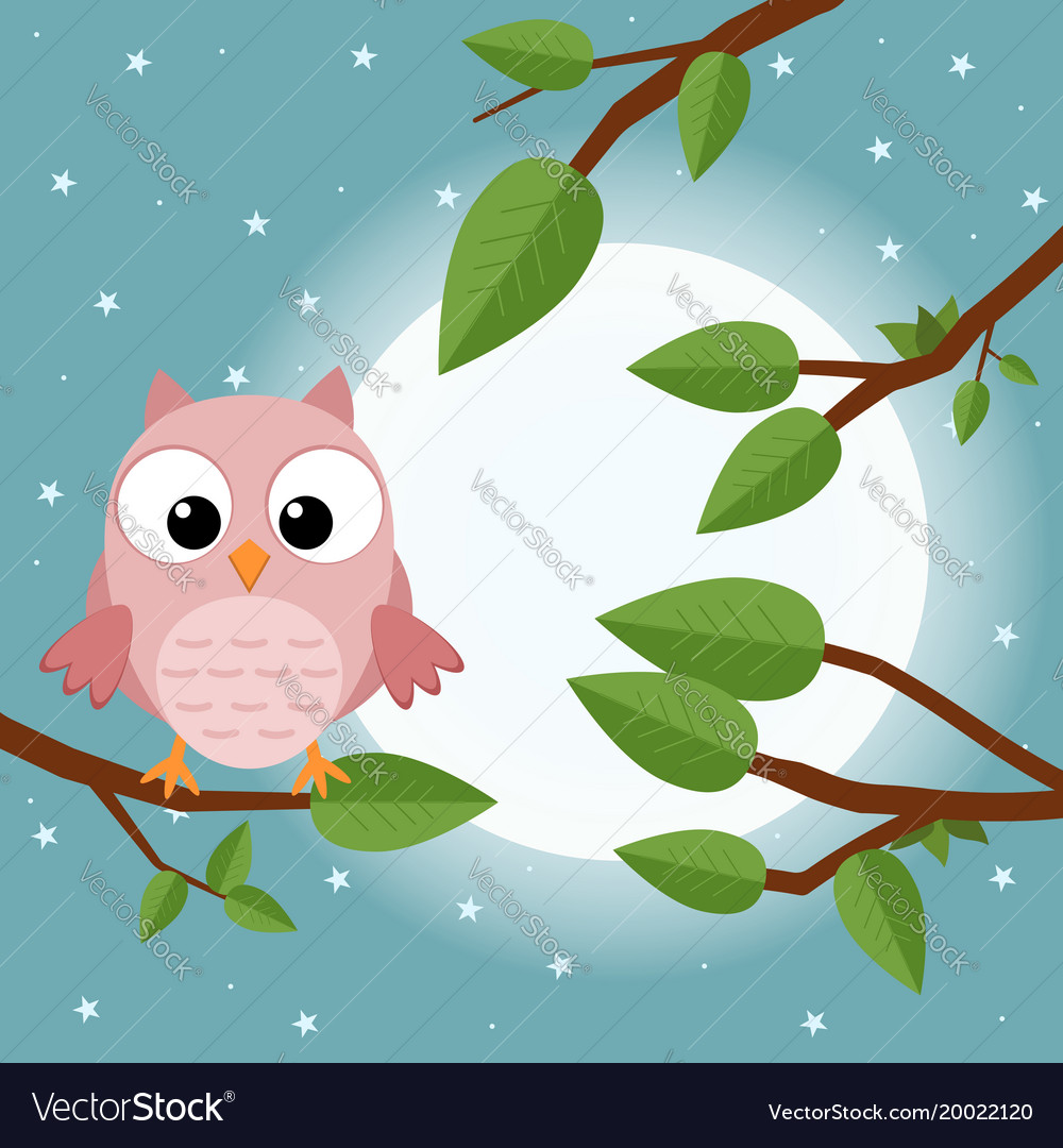 Colorful tree with cute owl cartoon bird in moon