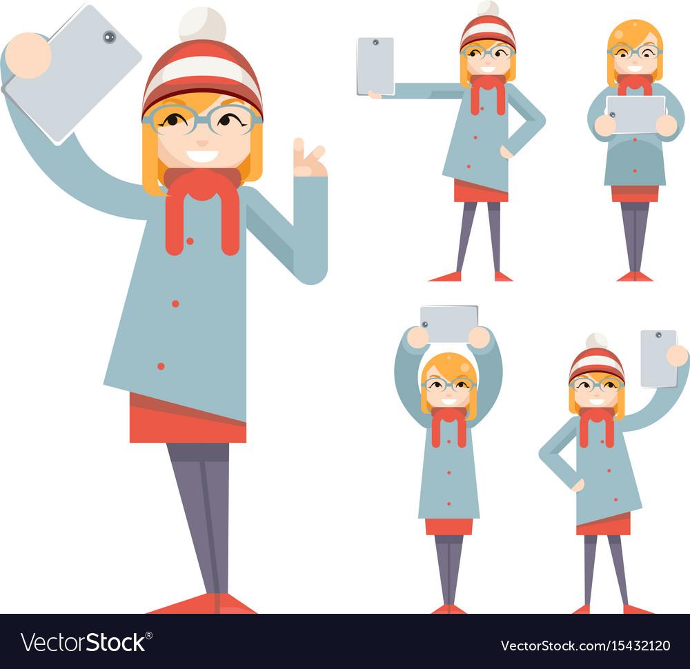 Cute girl geek hipster smartphone photo selfie vector image
