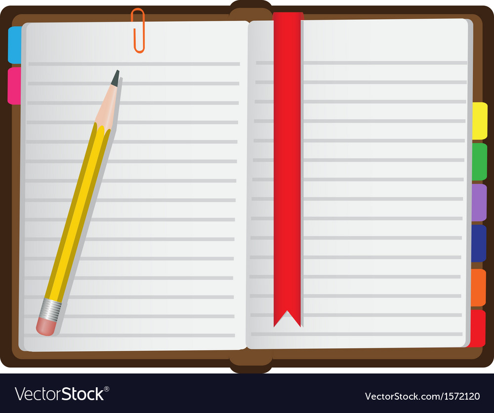 Diary on a white background