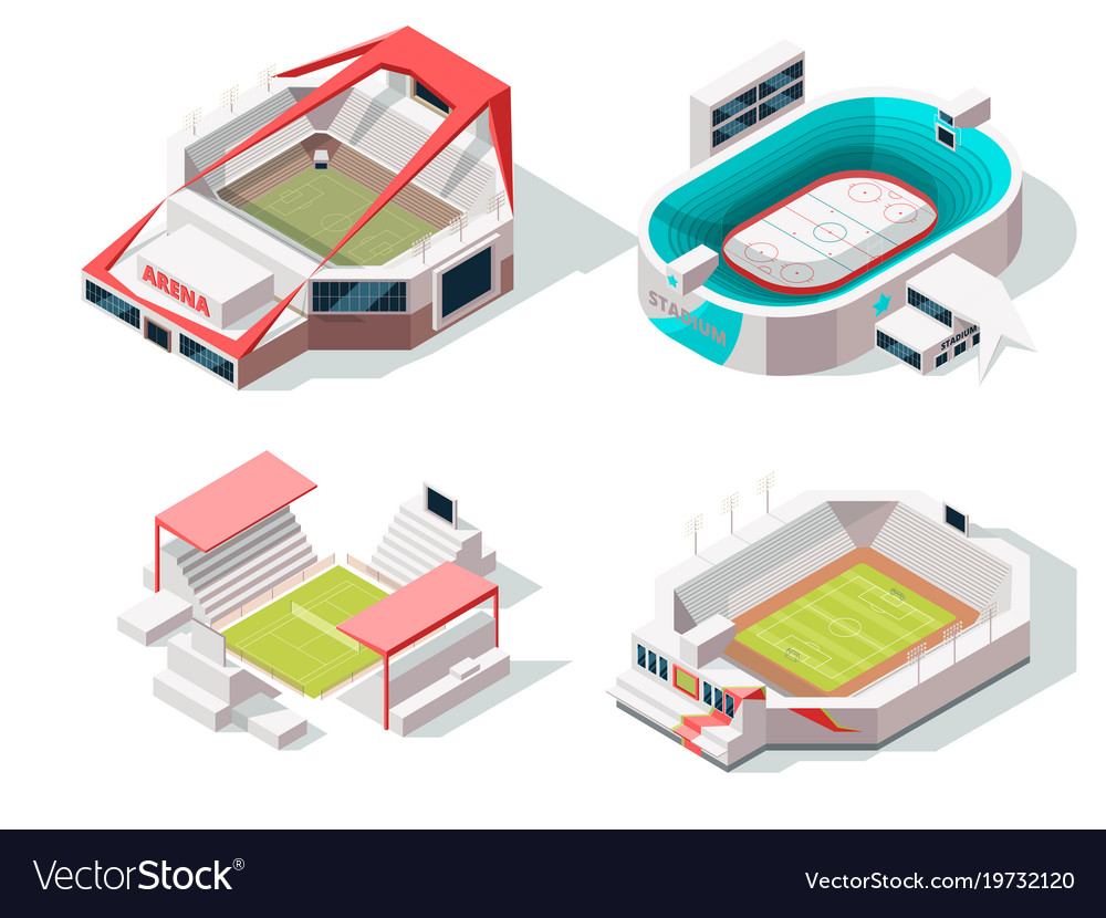 Exterior of stadium buildings hockey soccer and