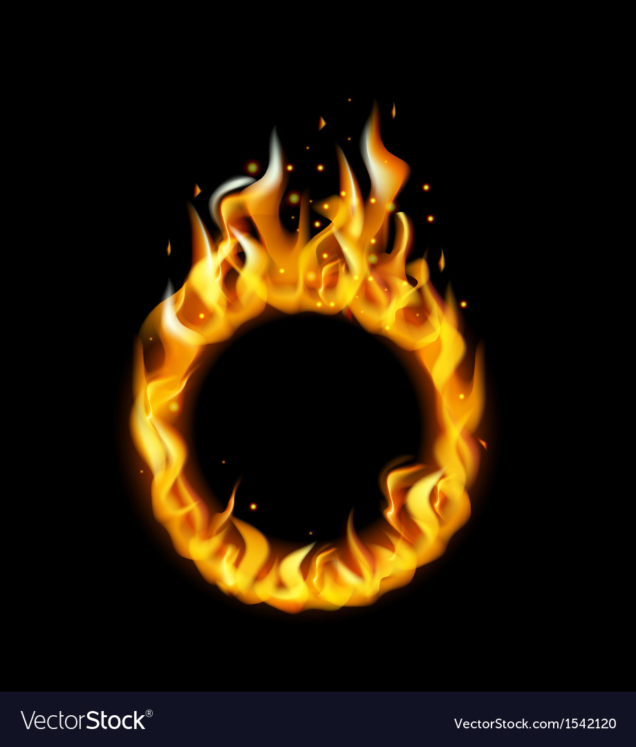 Fire flame in circular frame
