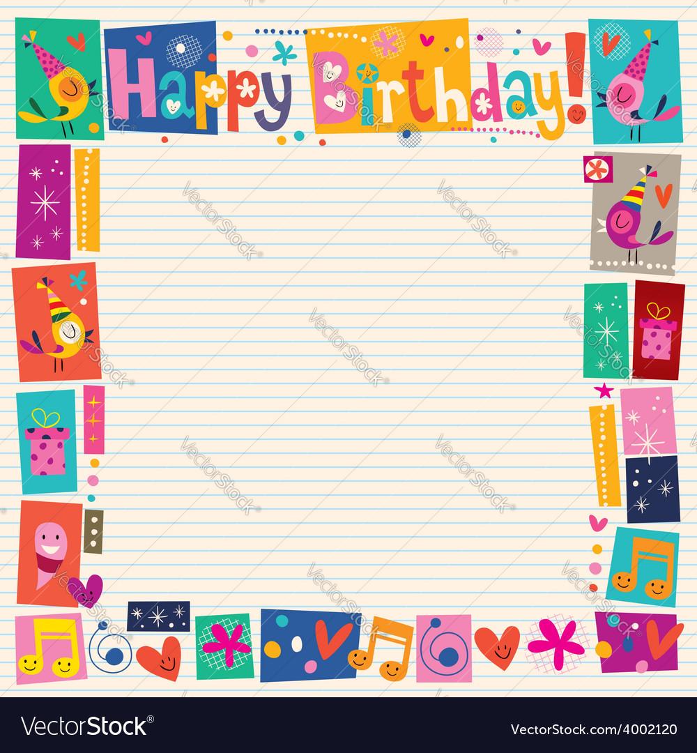 Happy Birthday decorative border vector image