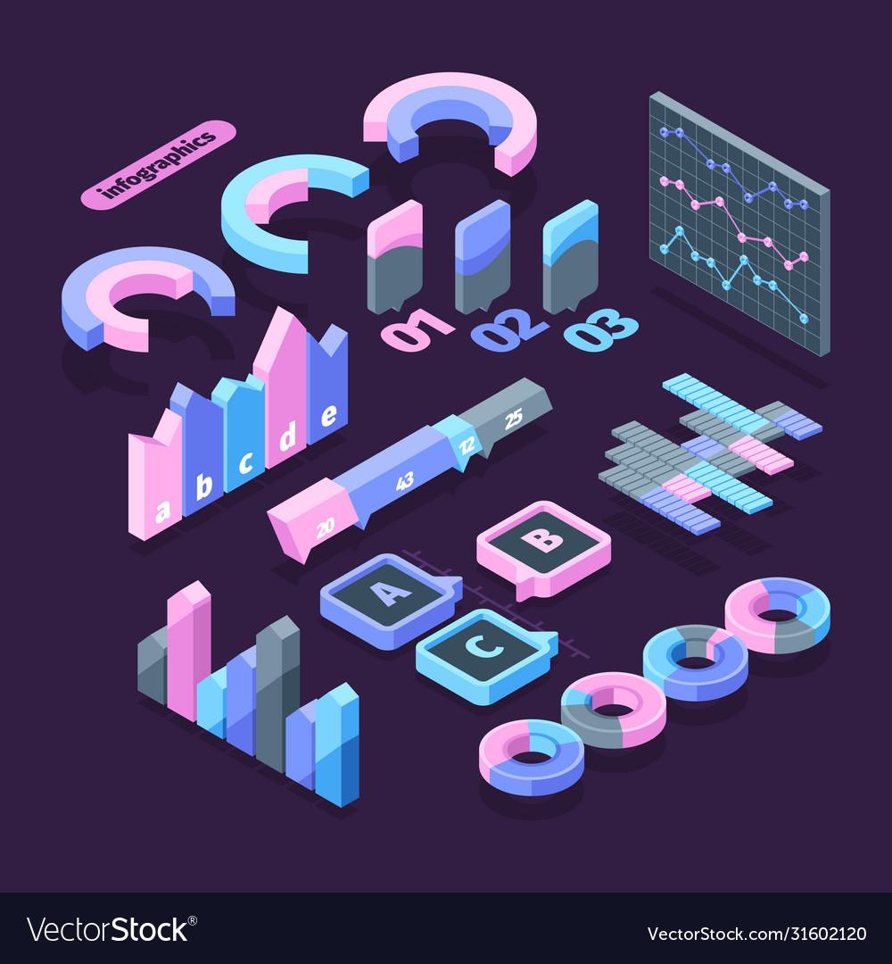 Infographics set isometric element symbol