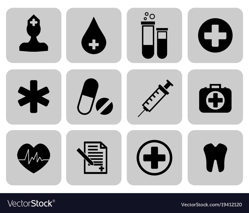 Medical icons set first aid symbol
