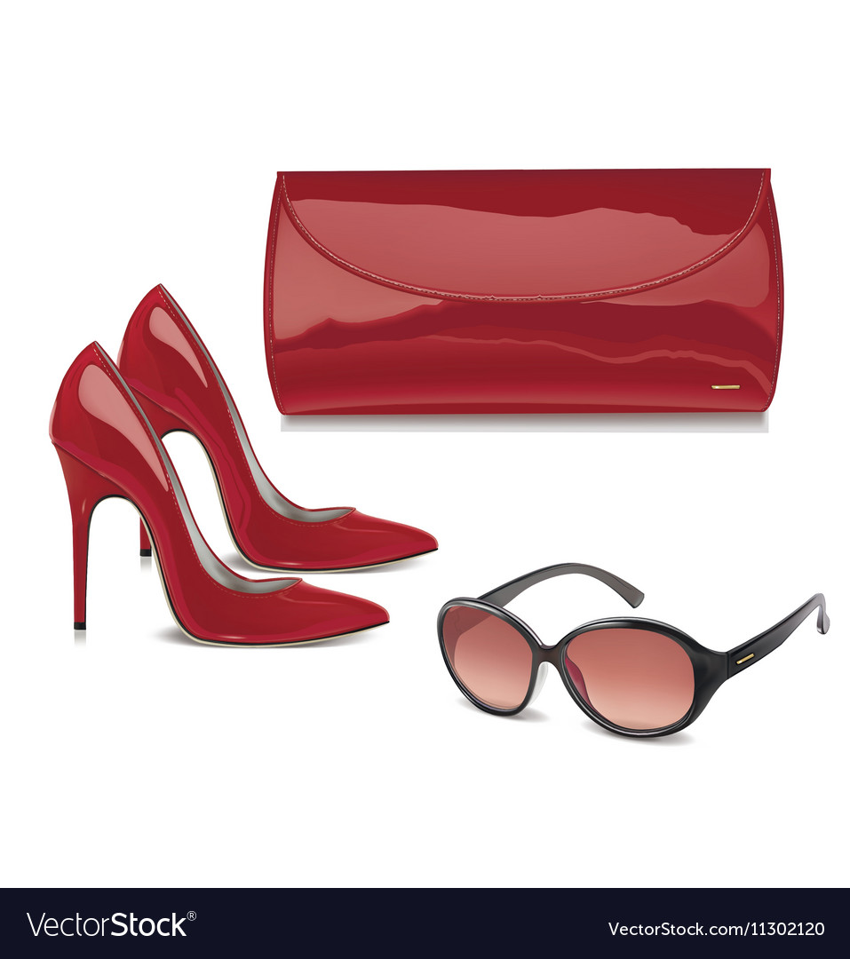 Pair of red patent leather female high-heeled shoe vector image