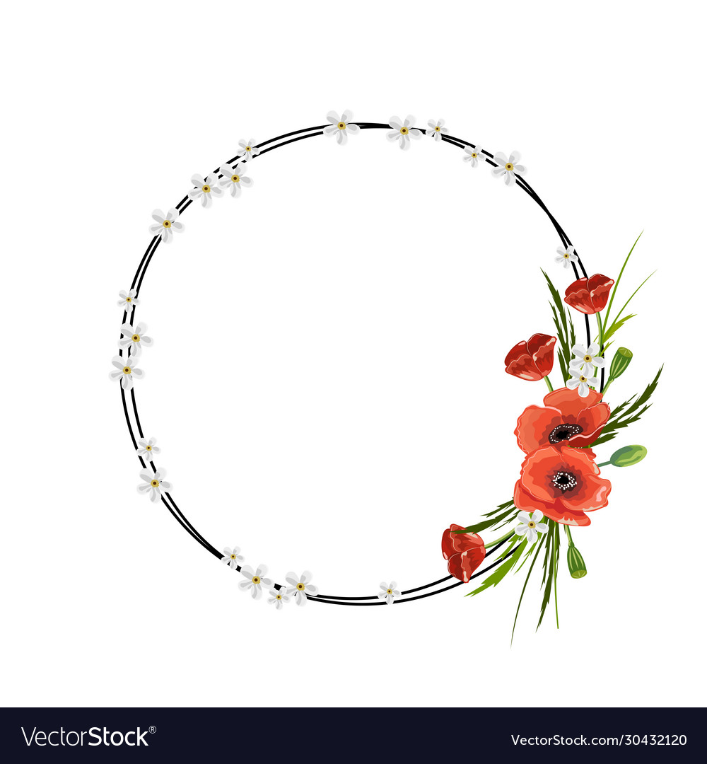 Round frame with red poppies isolated on white