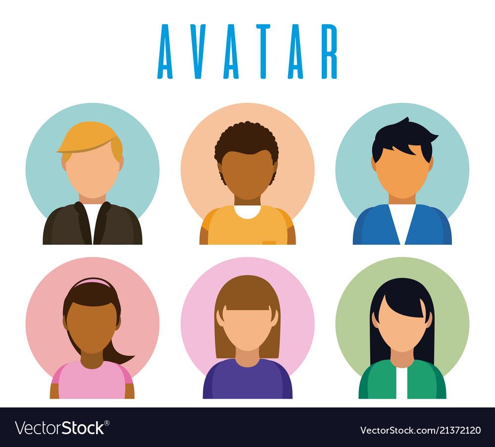 set of avatar profiles royalty free vector image