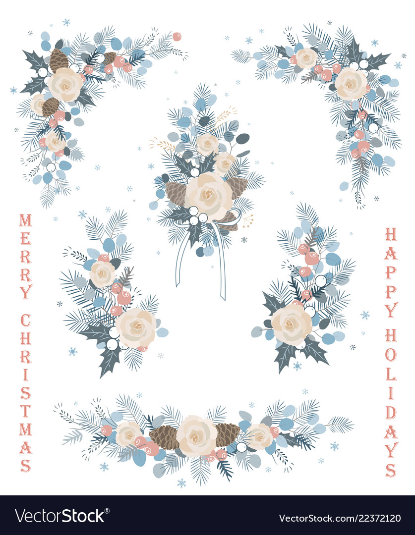 Set of christmas florals blooming branches