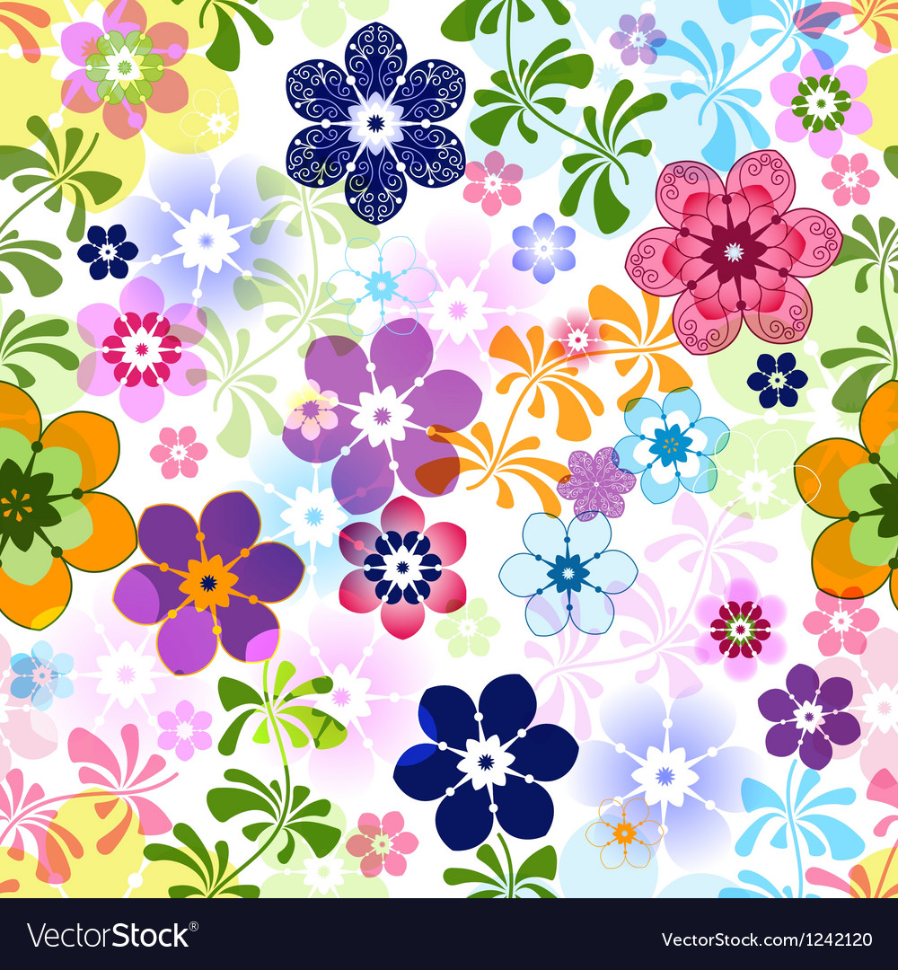 Spring Colorful Seamless Floral Pattern Royalty Free Vector