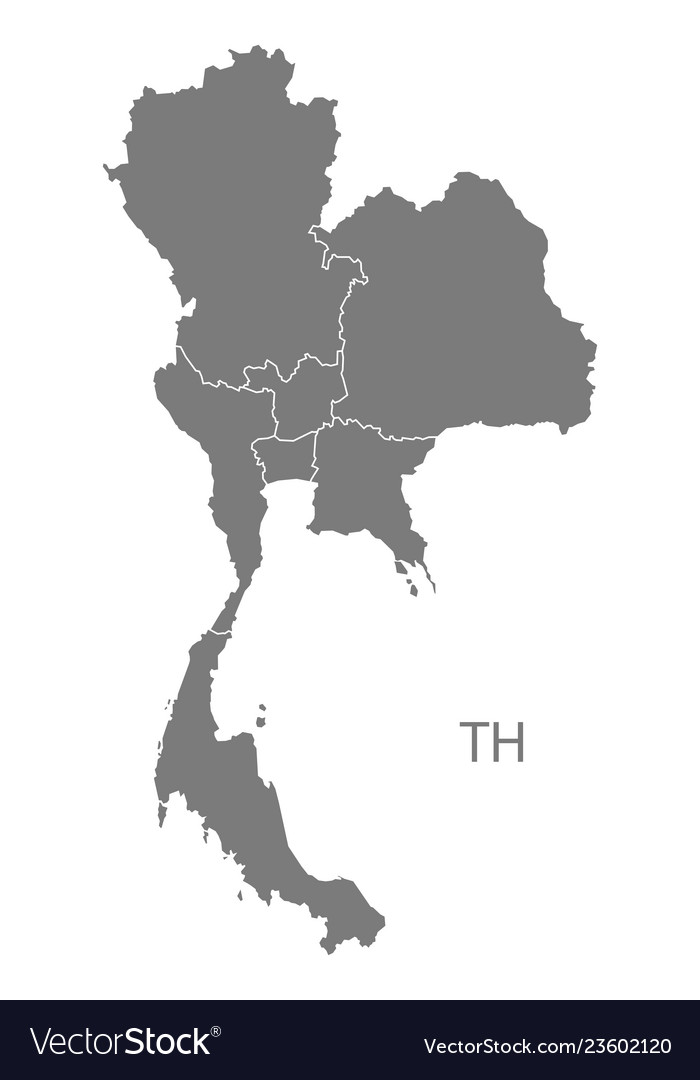 Thailand regions map grey