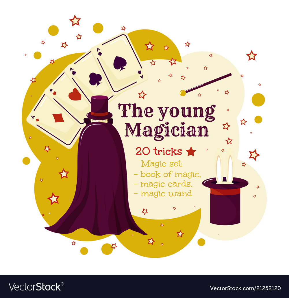The young wizard or magican magic game template