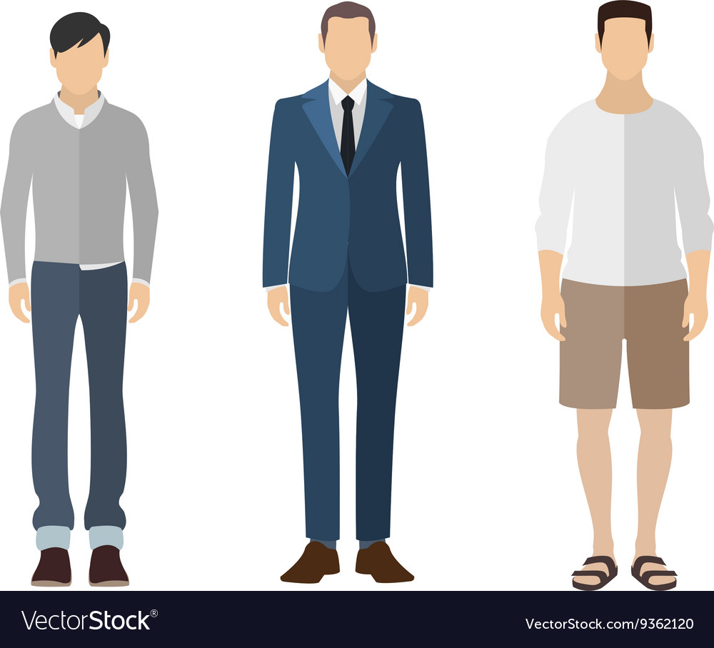 Three men flat style icon people figures